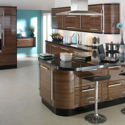3D Solutions Walnut Gloss Kitchen